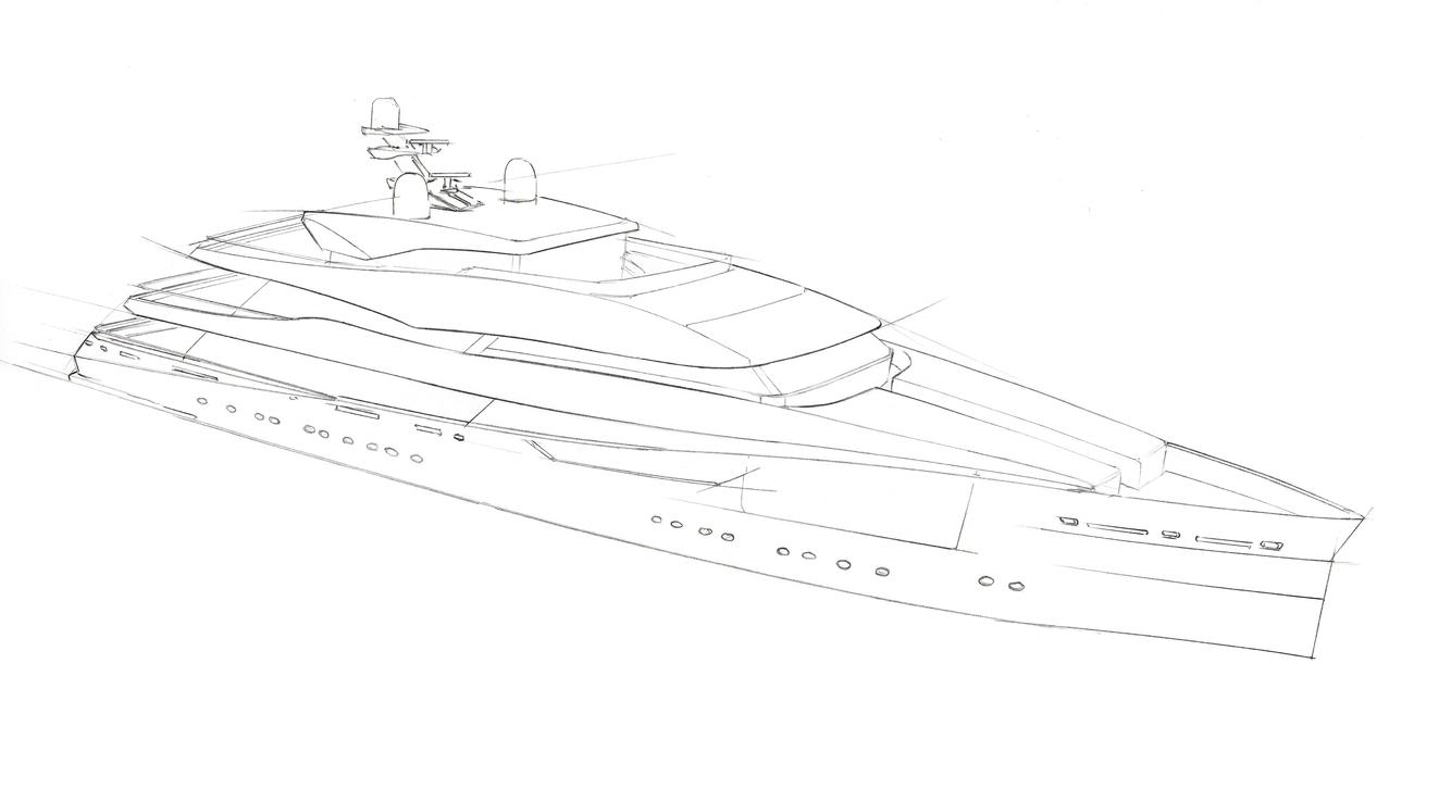 67m motor yacht Proteus exterior yacht sketch D iD Studio Kate Hadjidimos Dimitris Hadjidimos