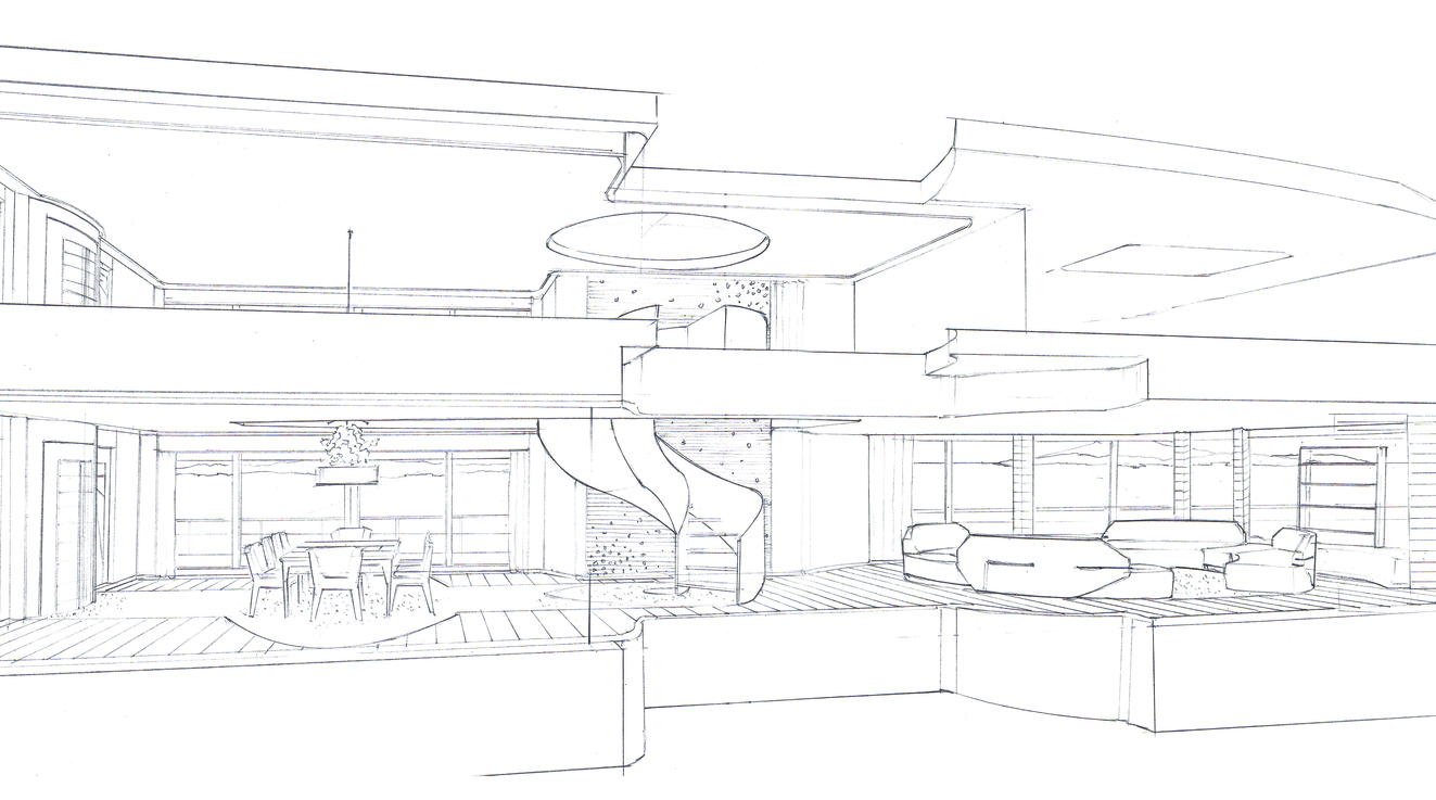 85m MY Cynosure Saloon Sketch By D-iD Studio