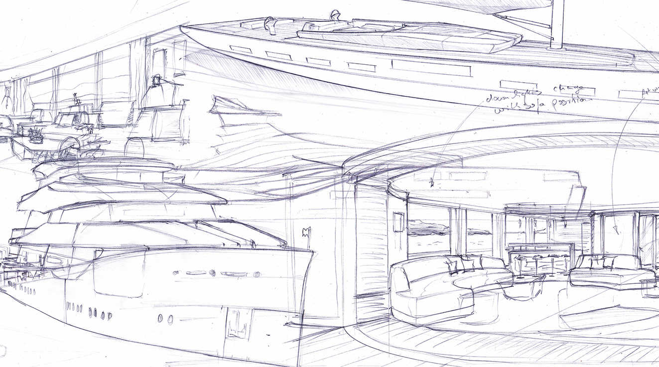 super yacht design sketch drawings