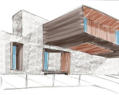 The Grounds House New Build Entrance Sketch by D-iD Studio Kate Hadjidimos Dimitris Hadjidimos