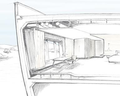 Sketch of Yacht Master Cabin by D-iD Studio Kate Hadjidimos Dimitris Hadjidimos